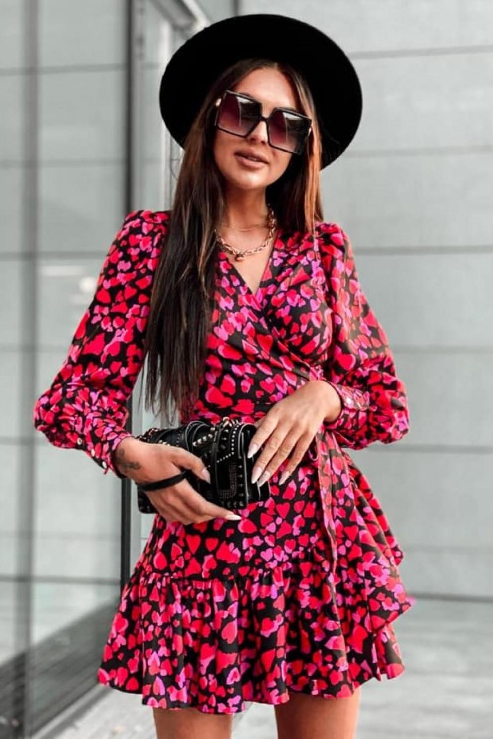 Różowa sukienka rozkloszowana w serca Lovely 2