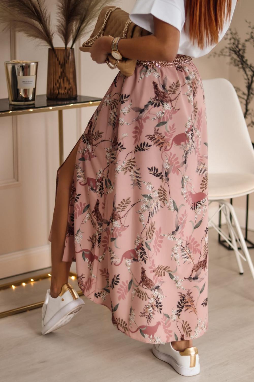 Różowa spódniczka z rozcięciem midi w kwiaty Sammy 3