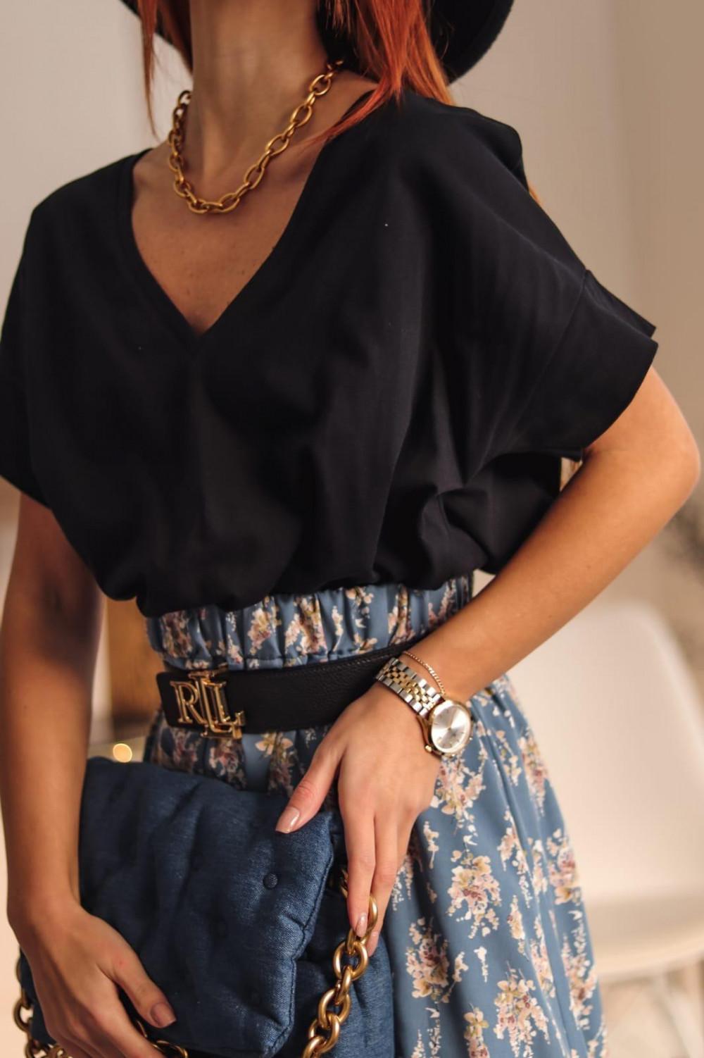 Czarny t-shirt oversize V-Neck Athena 2