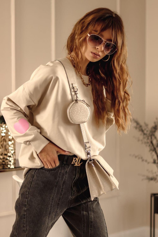 Beżowa bluza oversize z różowym sercem Hearts 3