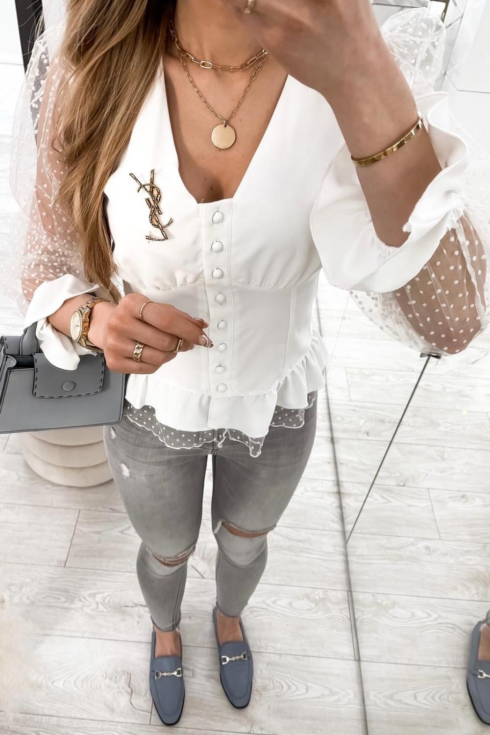 Biała gorsetowa koszula z szyfonowymi rękawami w kropki Famous 6