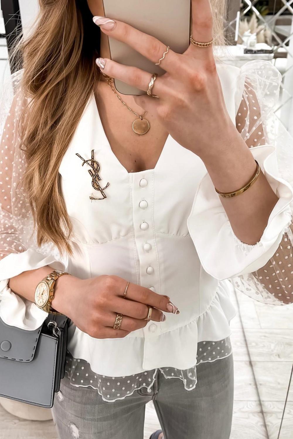 Biała gorsetowa koszula z szyfonowymi rękawami w kropki Famous 2