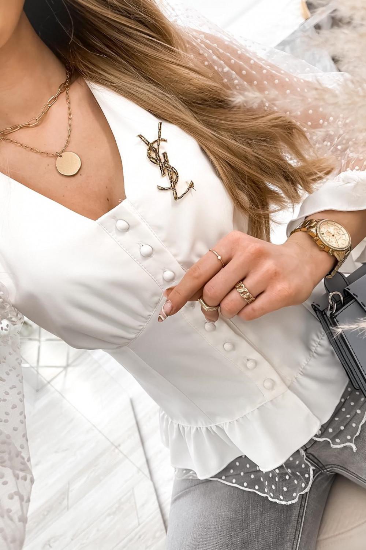 Biała gorsetowa koszula z szyfonowymi rękawami w kropki Famous 4