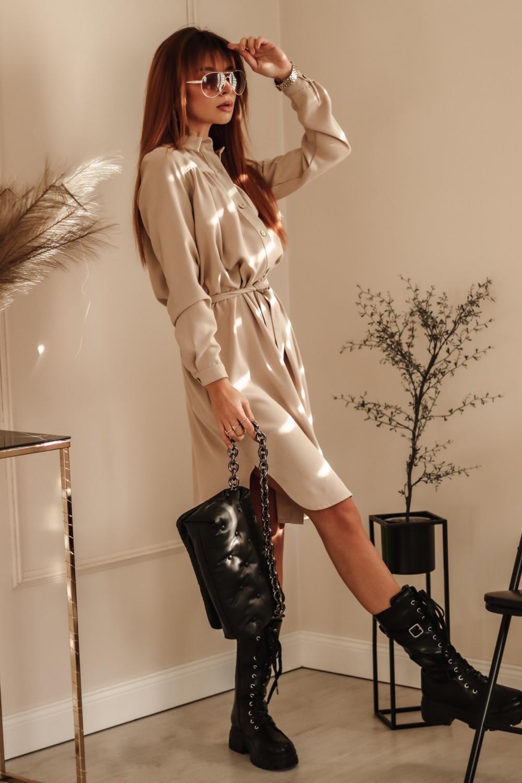 Beżowa sukienka szmizjerka z wiązaniem Louise 3