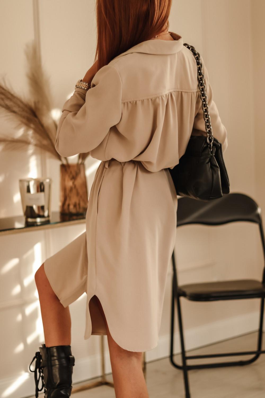 Beżowa sukienka szmizjerka z wiązaniem Louise 4