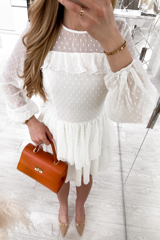 Biała sukienka rozkloszowana w kropki z bufiastymi rękawami Alices 3