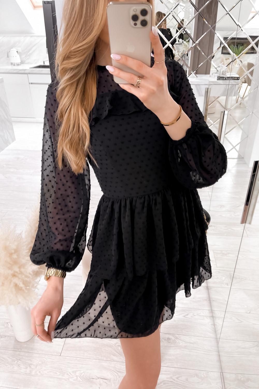 Czarna sukienka rozkloszowana w kropki z bufiastymi rękawami Alices 2