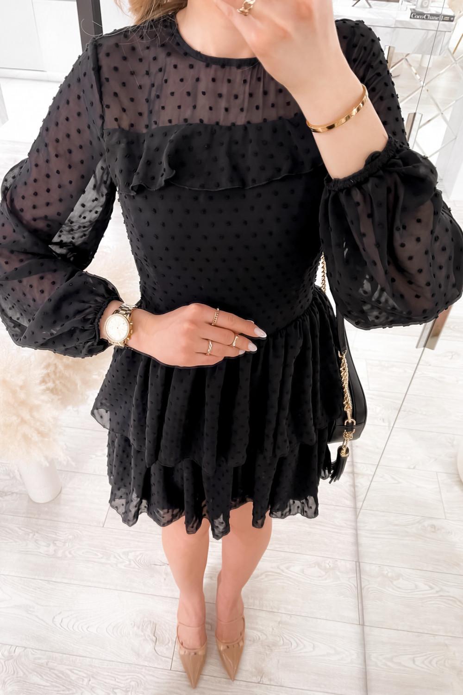 Czarna sukienka rozkloszowana w kropki z bufiastymi rękawami Alices 3