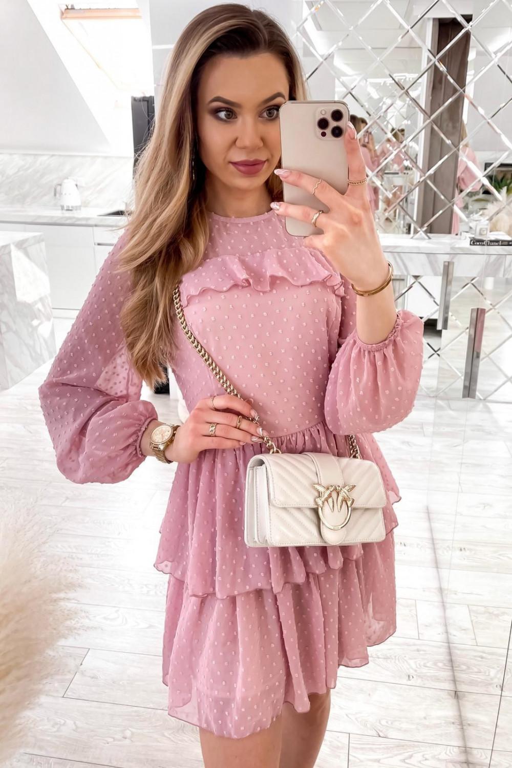 Różowa sukienka rozkloszowana w kropki z bufiastymi rękawami Alices 1