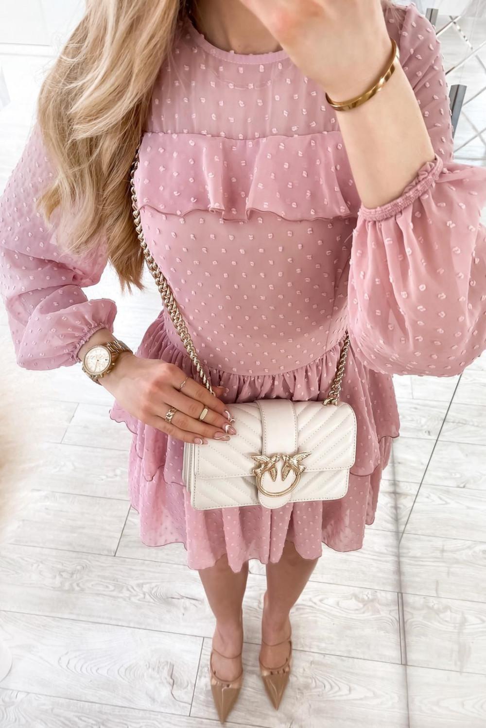 Różowa sukienka rozkloszowana w kropki z bufiastymi rękawami Alices 4