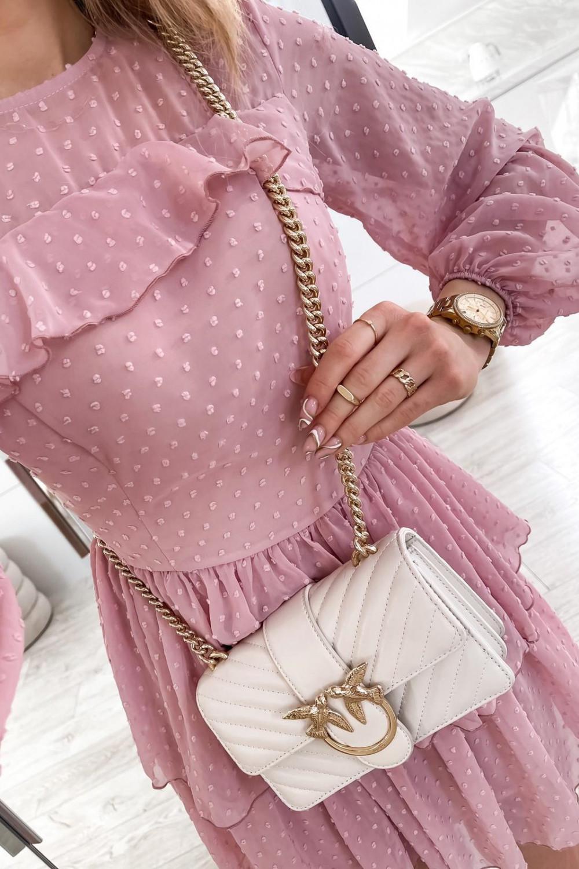Różowa sukienka rozkloszowana w kropki z bufiastymi rękawami Alices 5