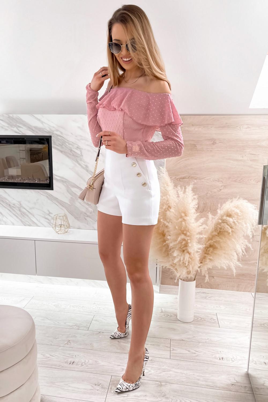 Różowa bluzka hiszpanka z falbanką Vacation 2