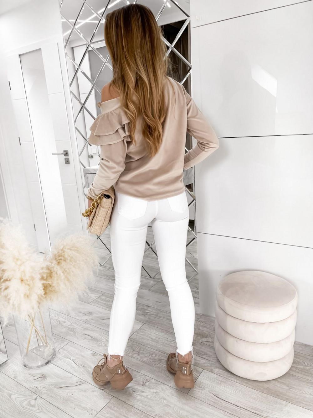 Beżowa bluza na jedno ramię z falbanami Jasmine 5