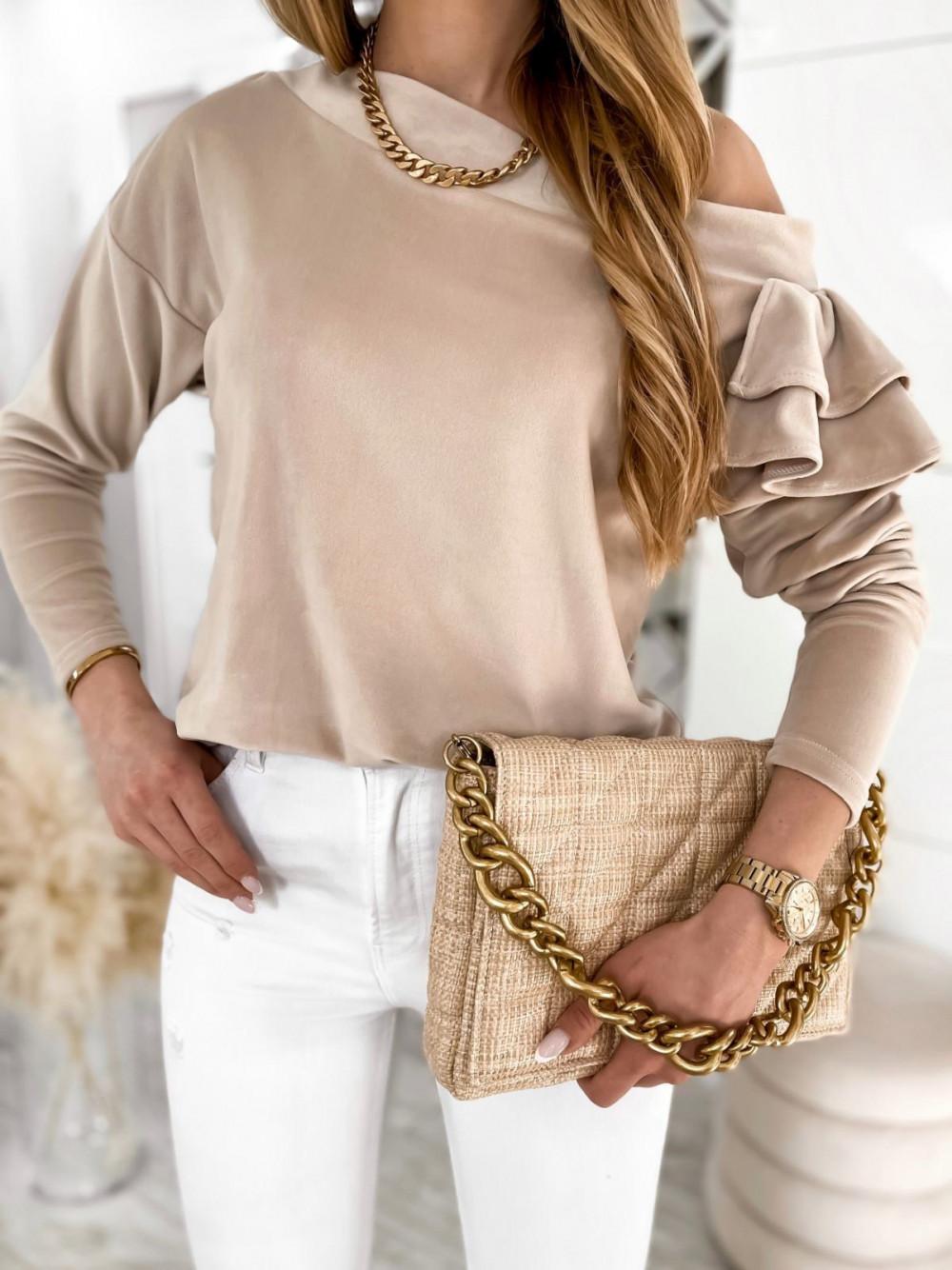 Beżowa bluza na jedno ramię z falbanami Jasmine 3