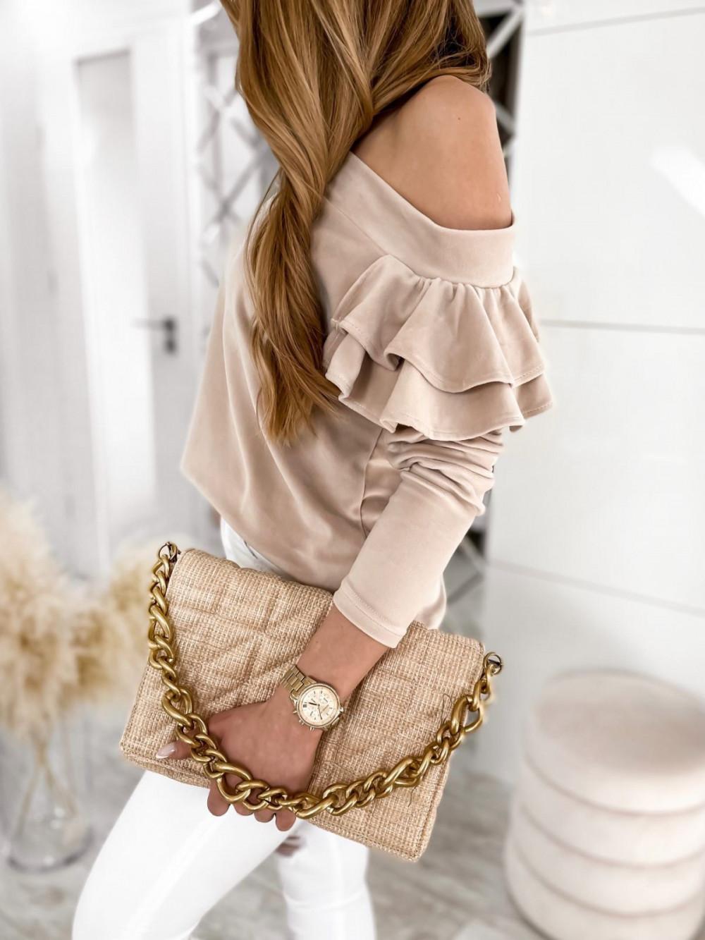 Beżowa bluza na jedno ramię z falbanami Jasmine 2