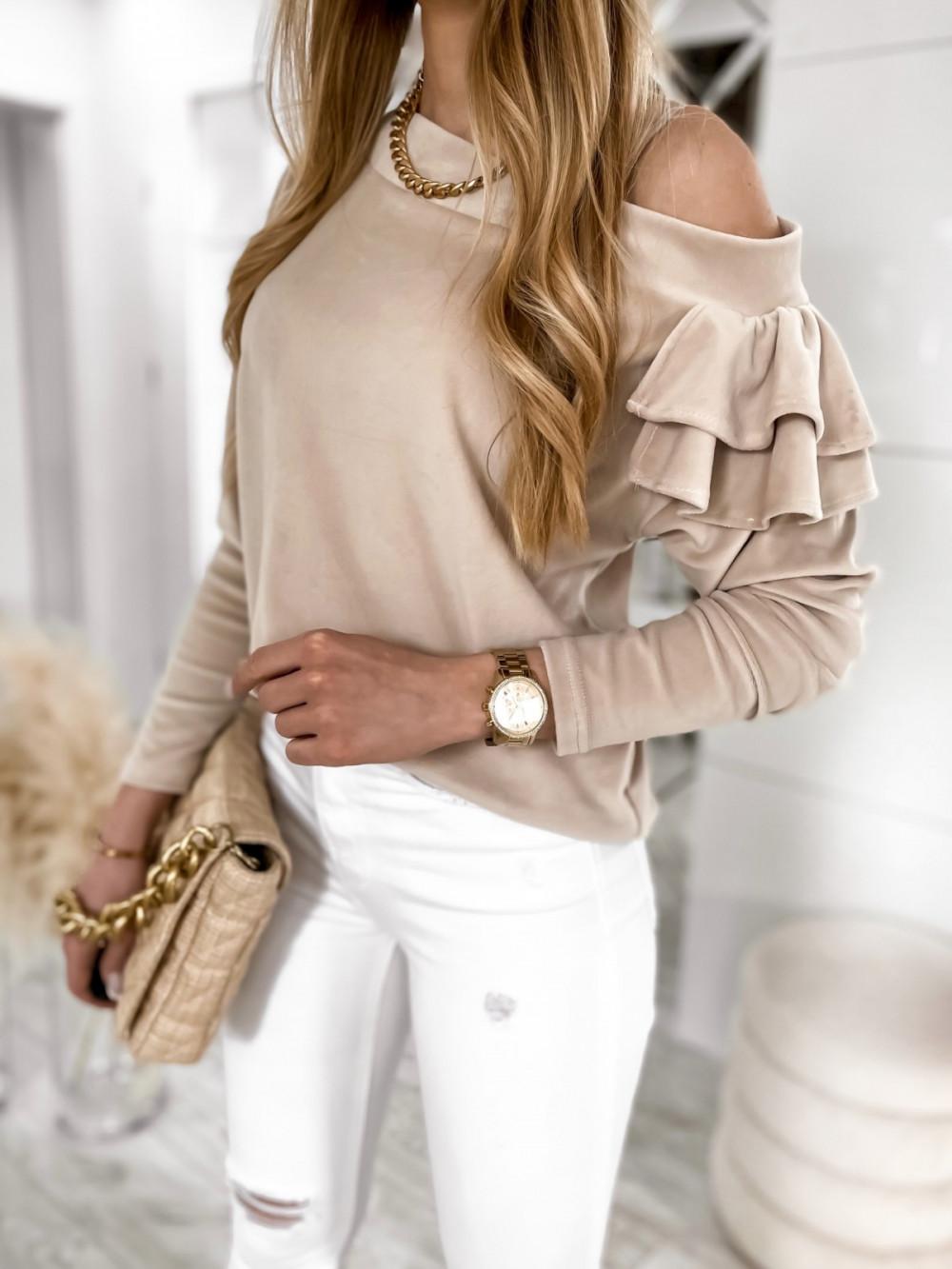 Beżowa bluza na jedno ramię z falbanami Jasmine 4