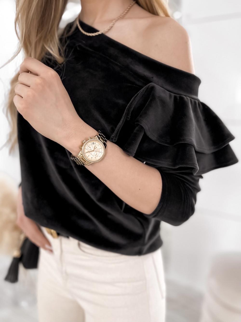 Czarna bluza na jedno ramię z falbanami Jasmine 4