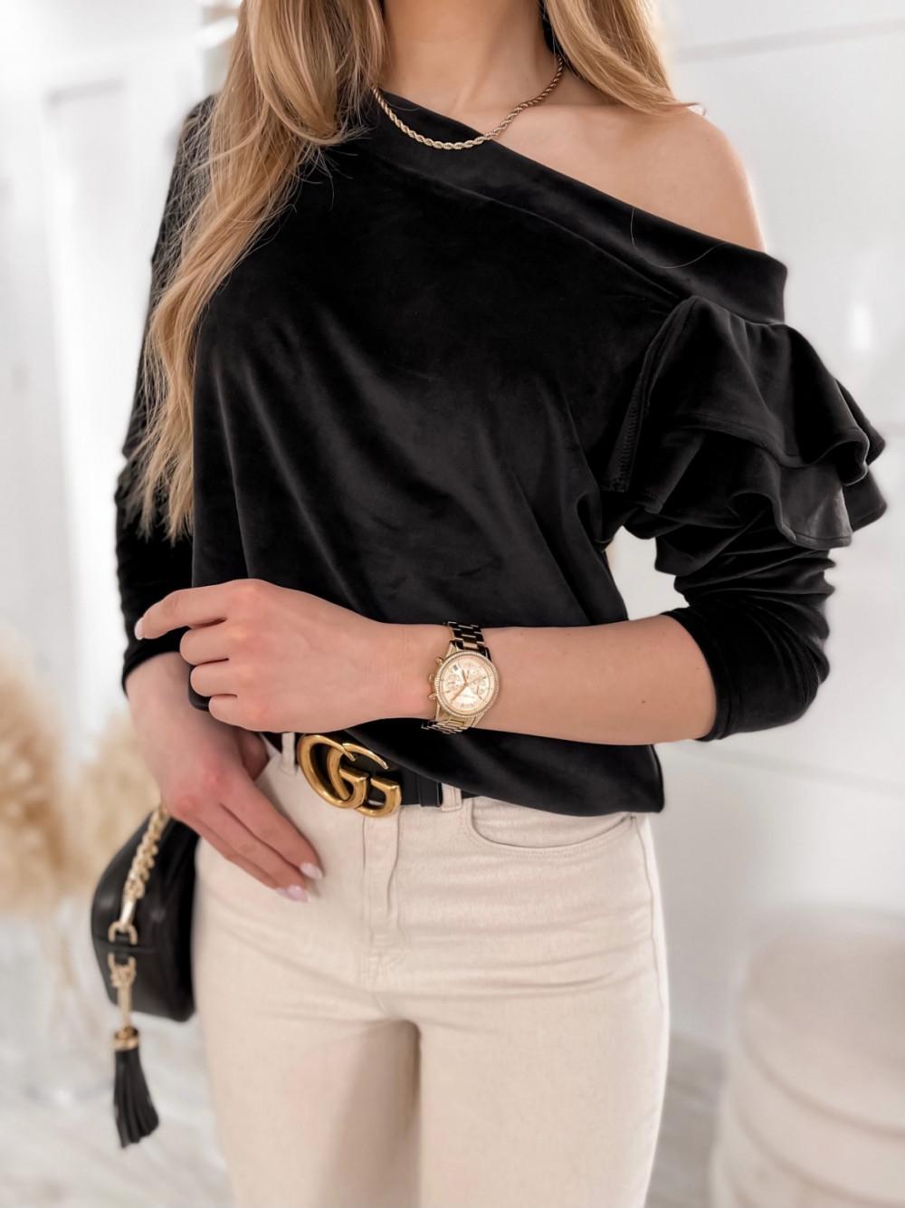 Czarna bluza na jedno ramię z falbanami Jasmine 1