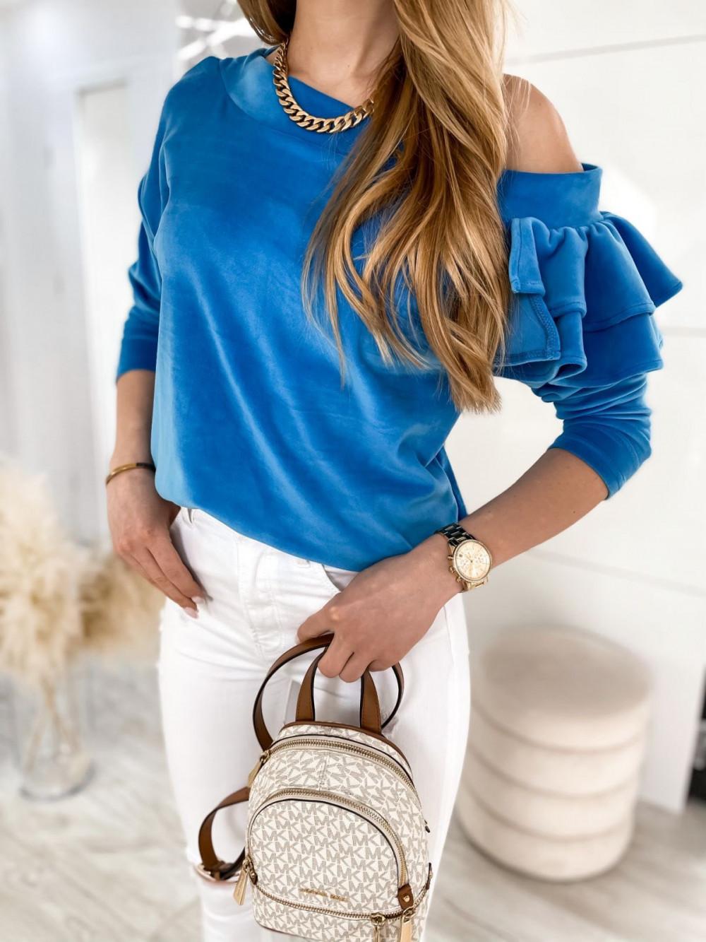 Niebieska bluza na jedno ramię z falbanami Jasmine 3
