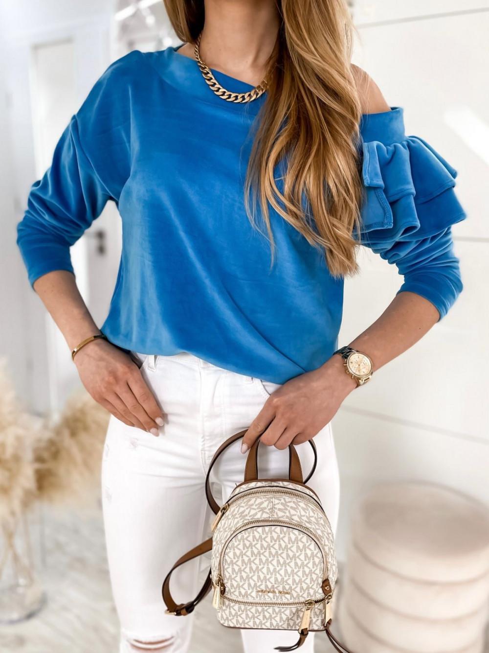 Niebieska bluza na jedno ramię z falbanami Jasmine 4