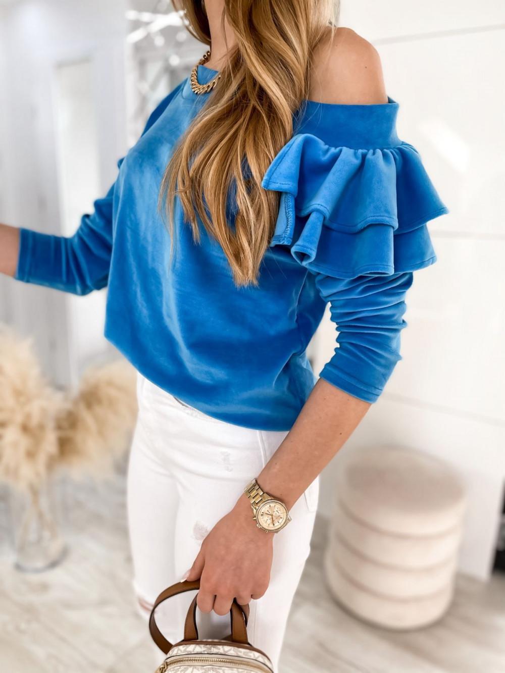 Niebieska bluza na jedno ramię z falbanami Jasmine 5