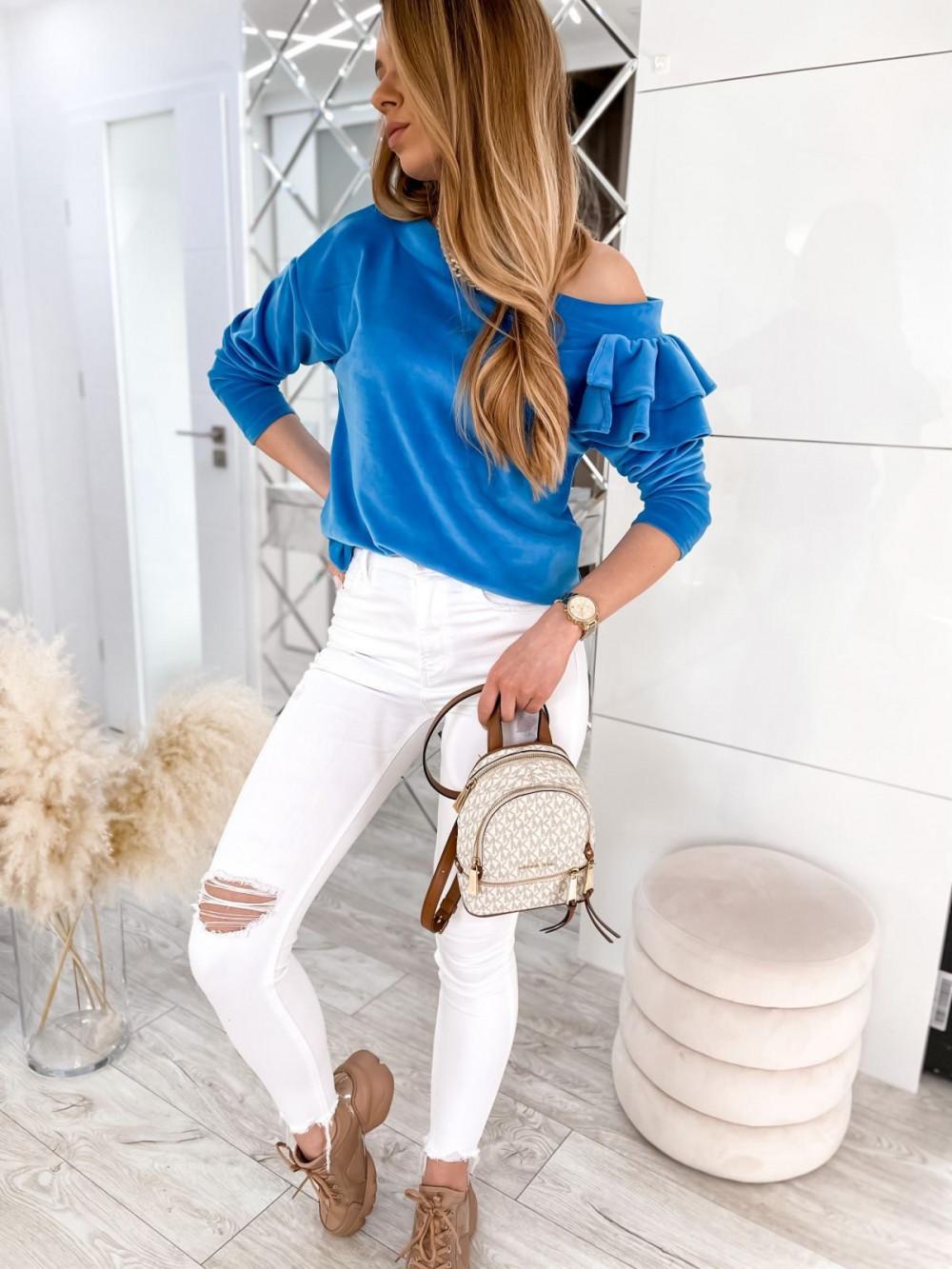 Niebieska bluza na jedno ramię z falbanami Jasmine 2