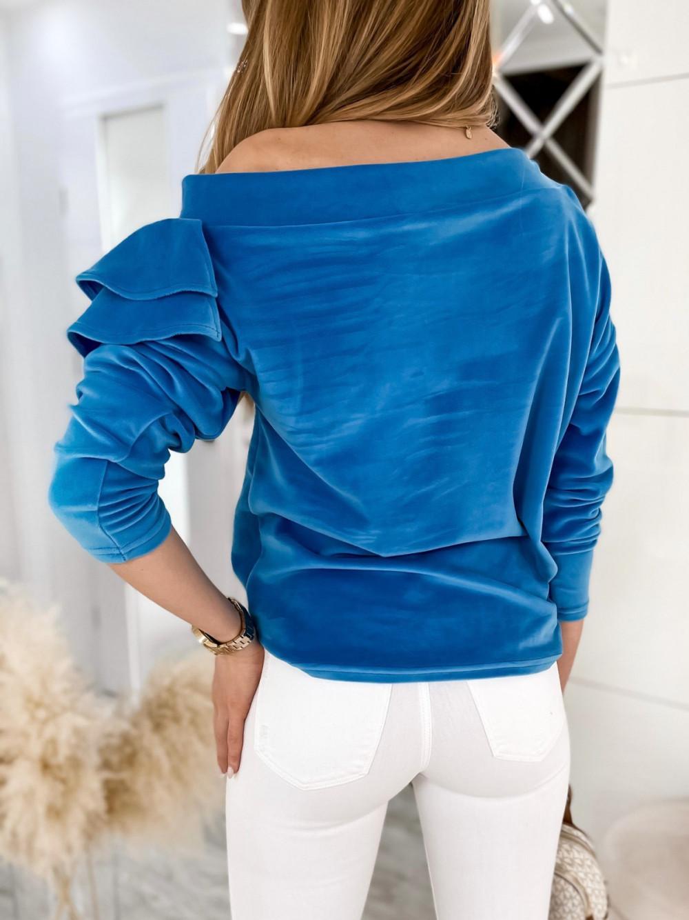 Niebieska bluza na jedno ramię z falbanami Jasmine 7