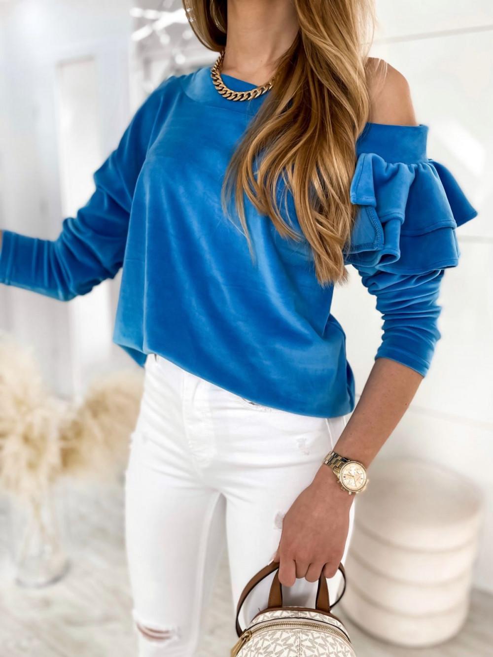 Niebieska bluza na jedno ramię z falbanami Jasmine 1