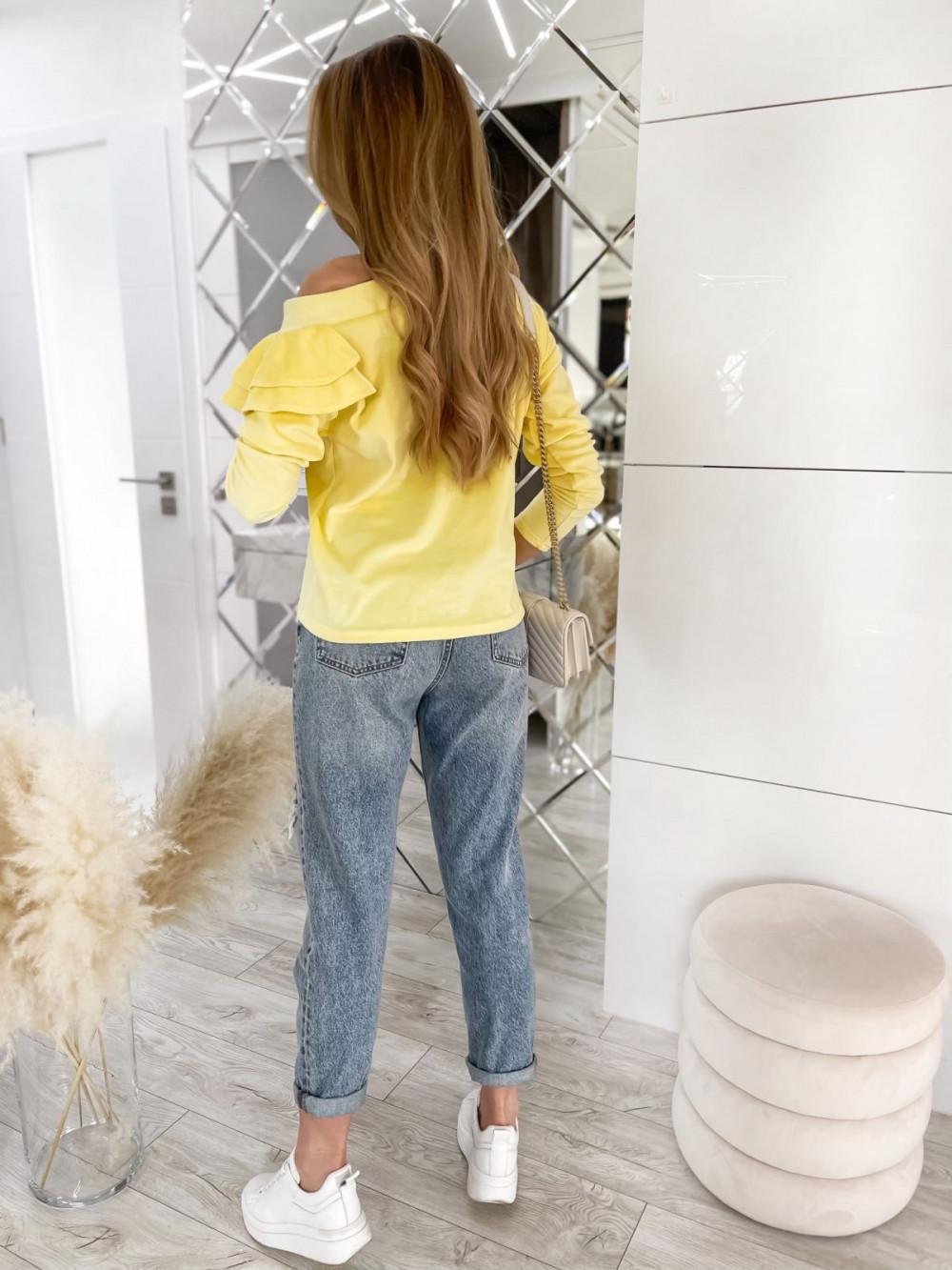 Żółta bluza na jedno ramię z falbanami Jasmine 6