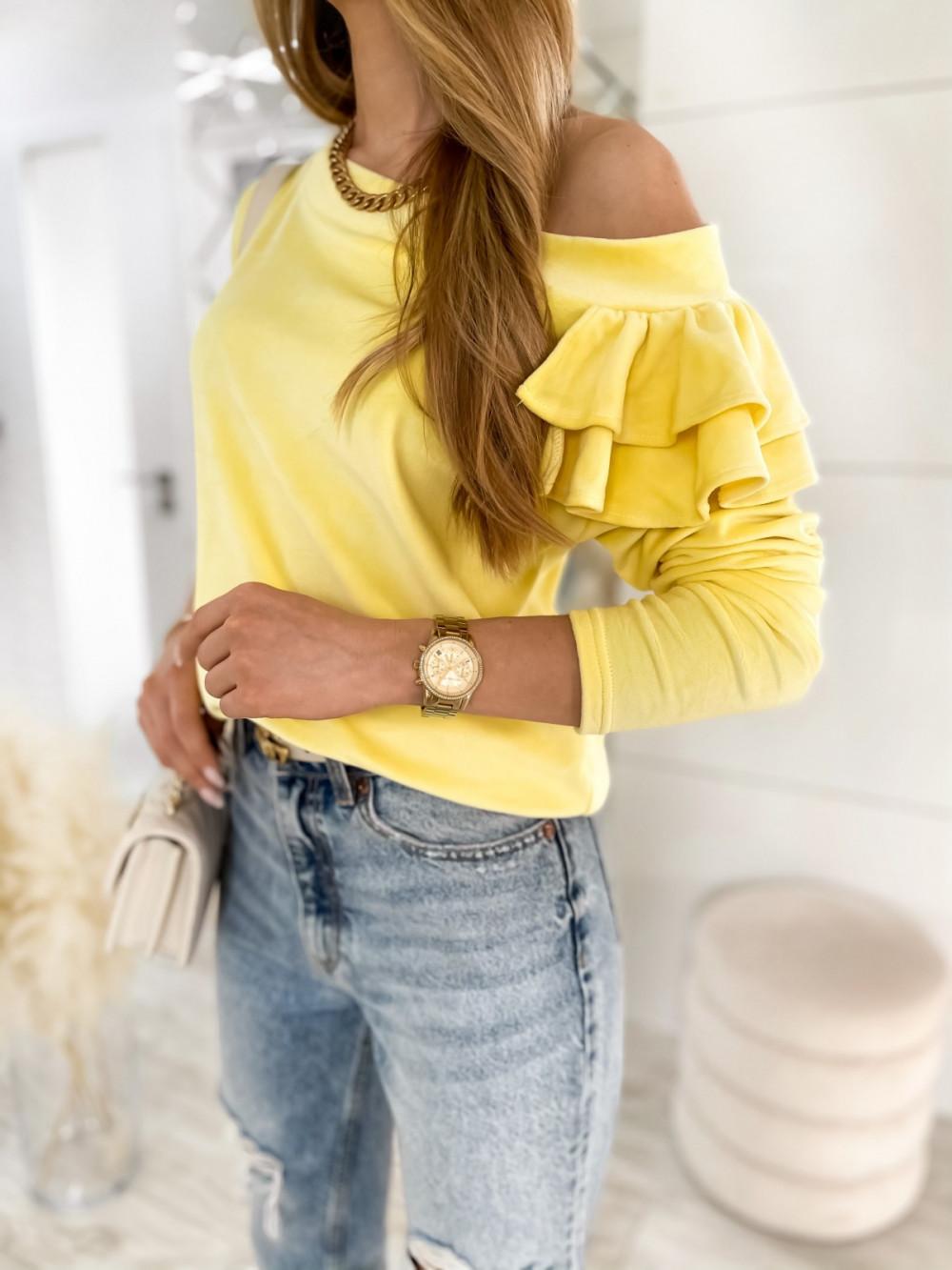 Żółta bluza na jedno ramię z falbanami Jasmine 4