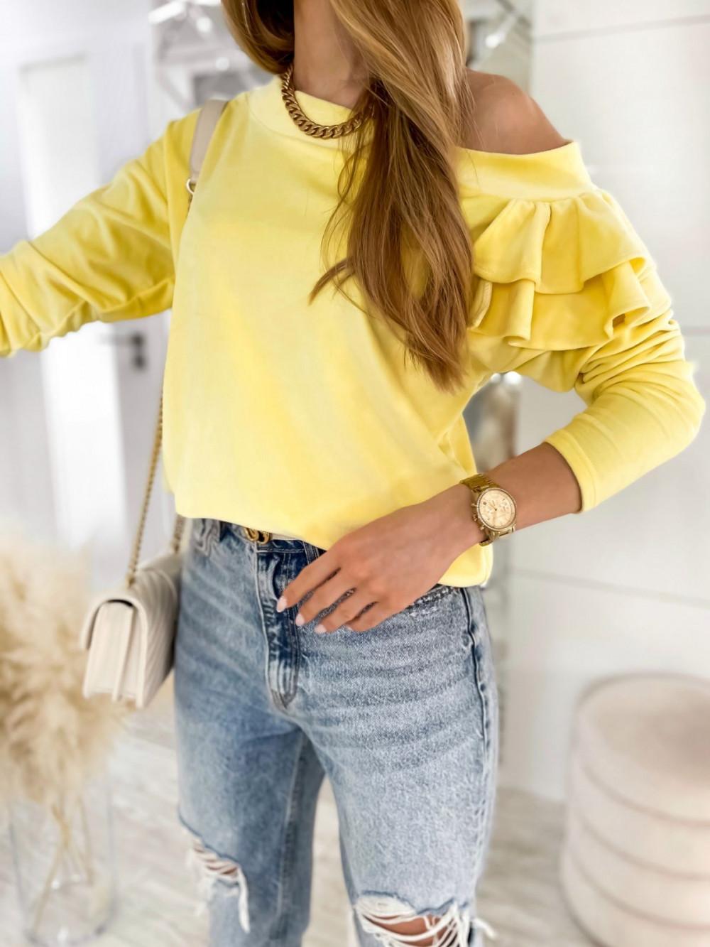 Żółta bluza na jedno ramię z falbanami Jasmine 3