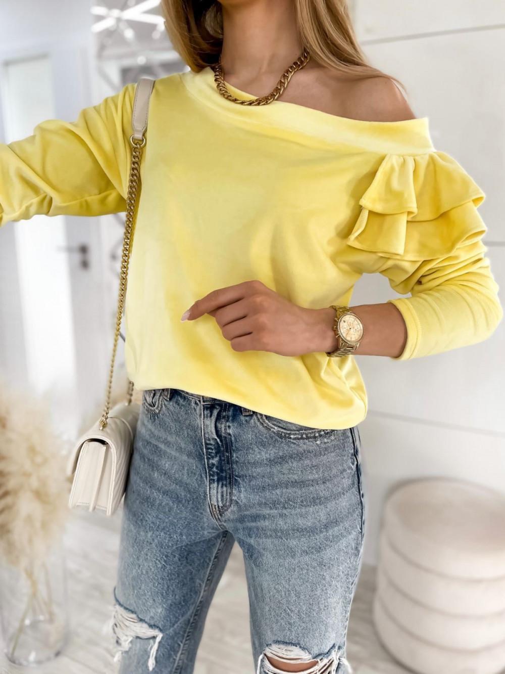 Żółta bluza na jedno ramię z falbanami Jasmine 5