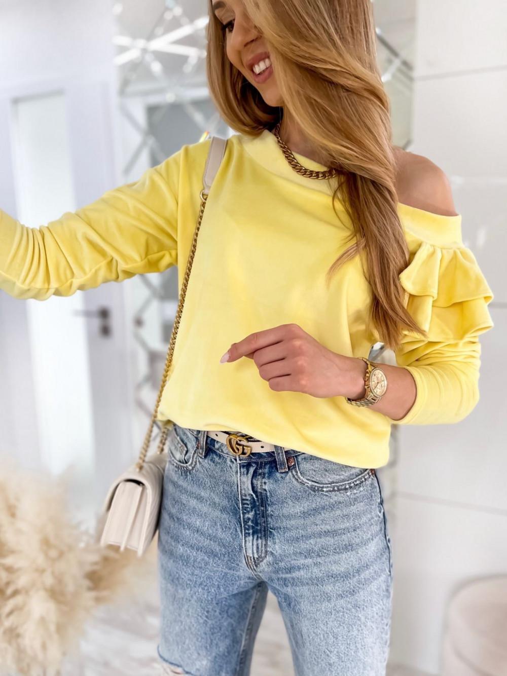 Żółta bluza na jedno ramię z falbanami Jasmine 1