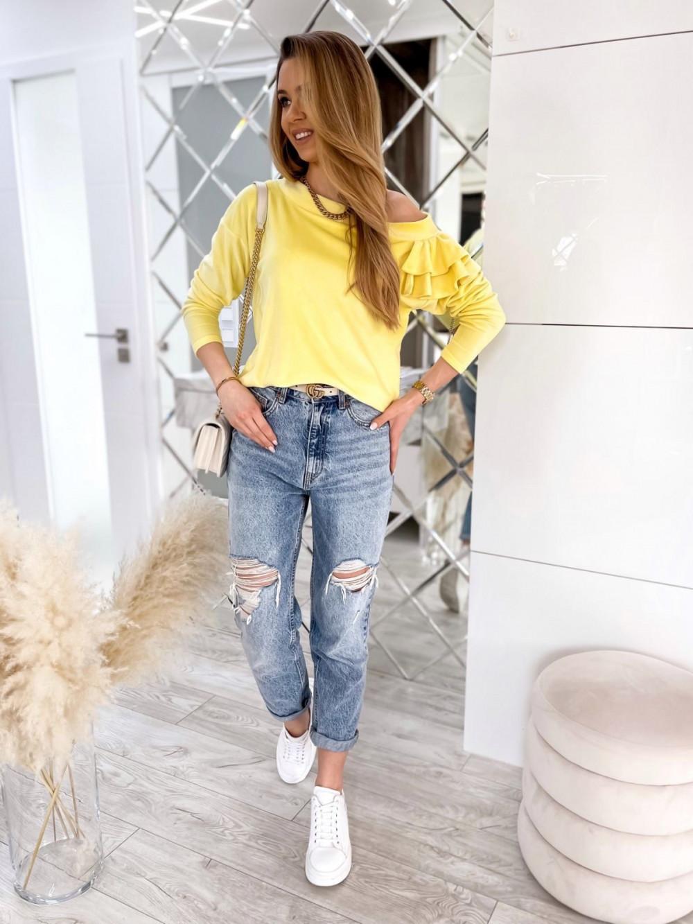 Żółta bluza na jedno ramię z falbanami Jasmine 2