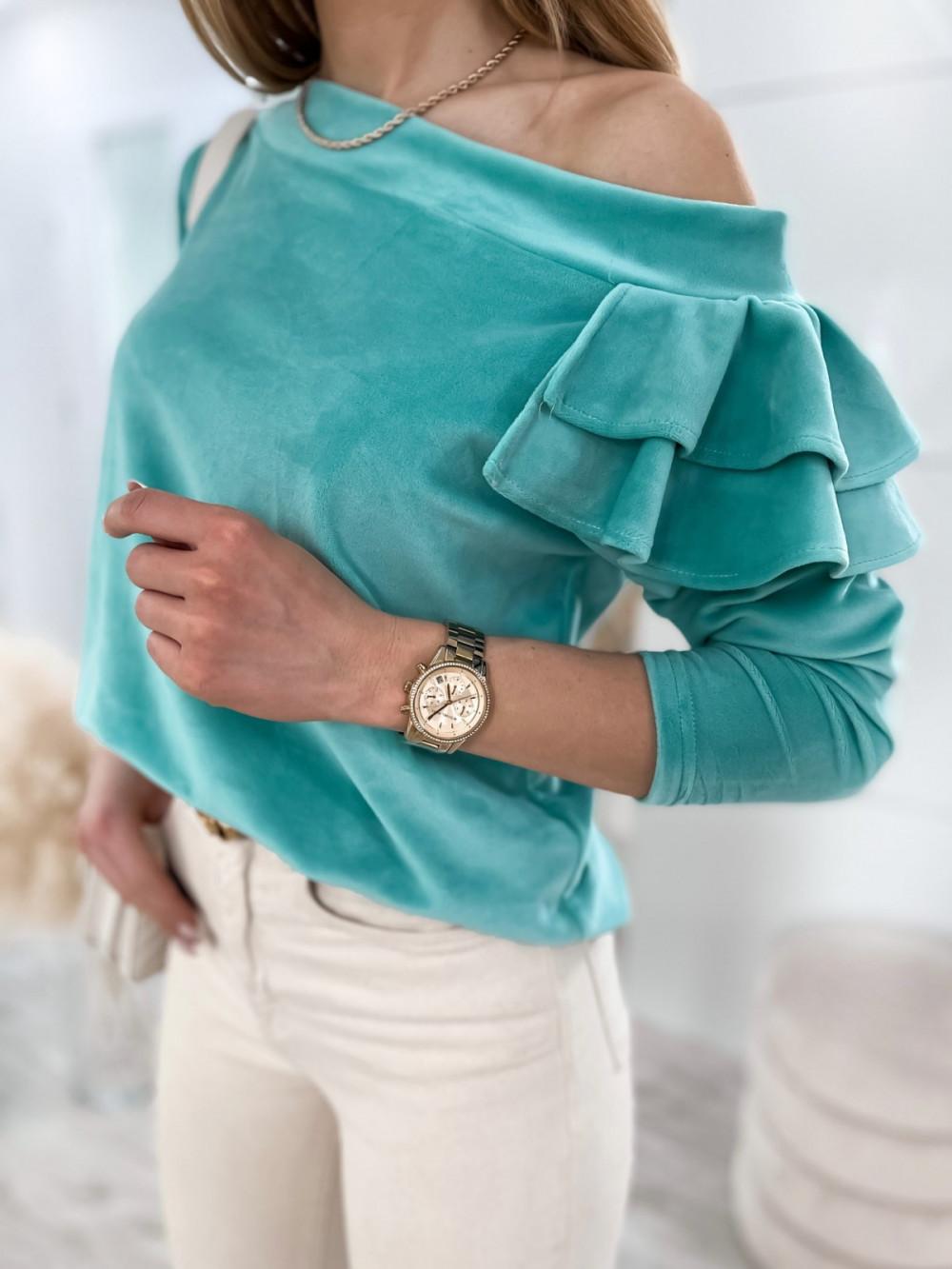 Morska bluza na jedno ramię z falbanami Jasmine 3