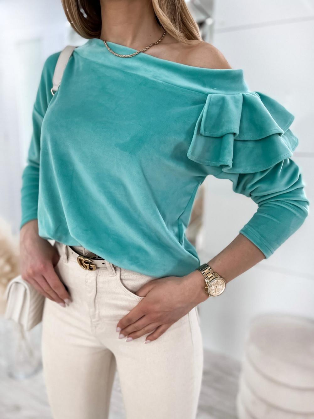 Morska bluza na jedno ramię z falbanami Jasmine 4