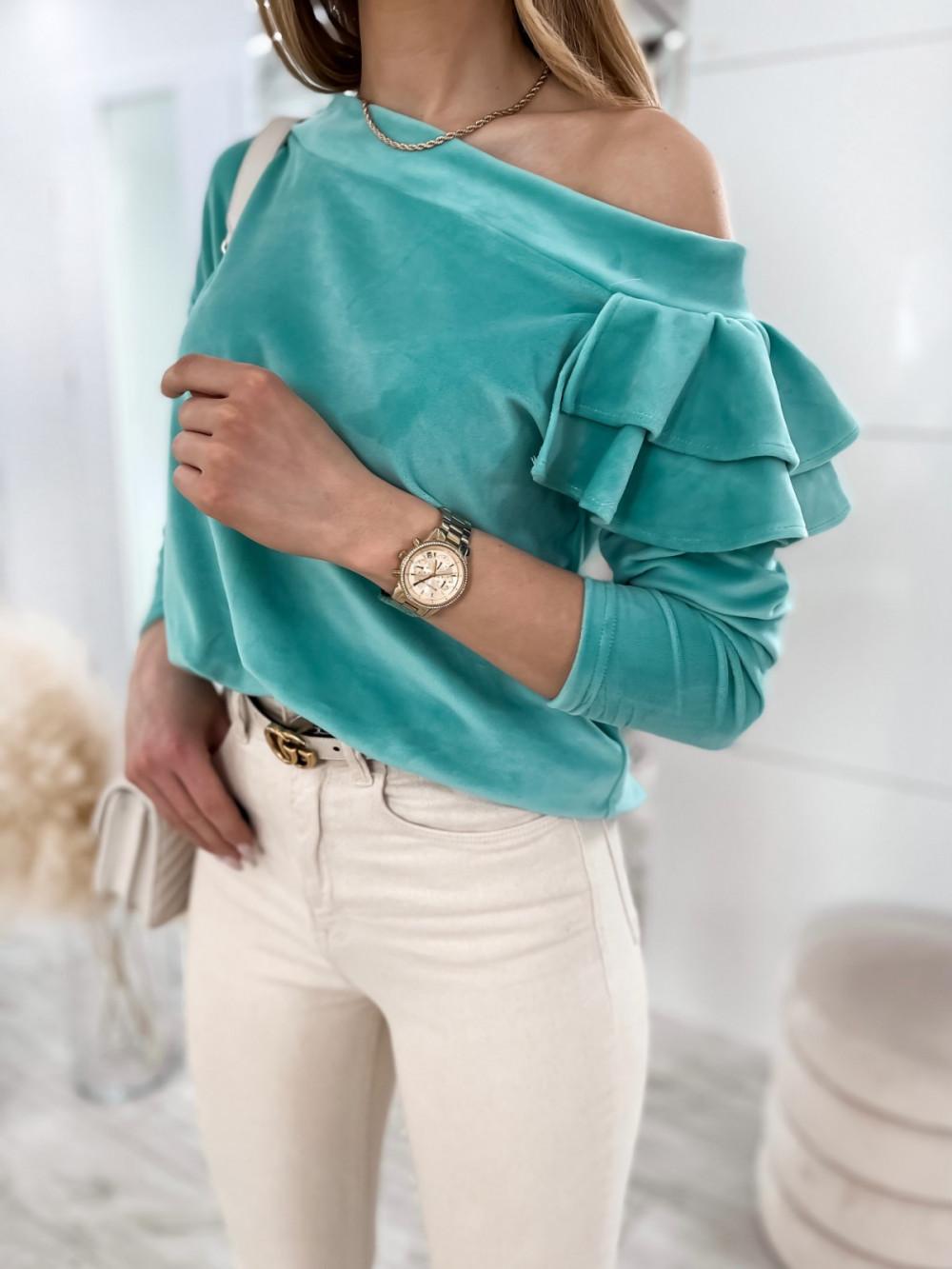Morska bluza na jedno ramię z falbanami Jasmine 1