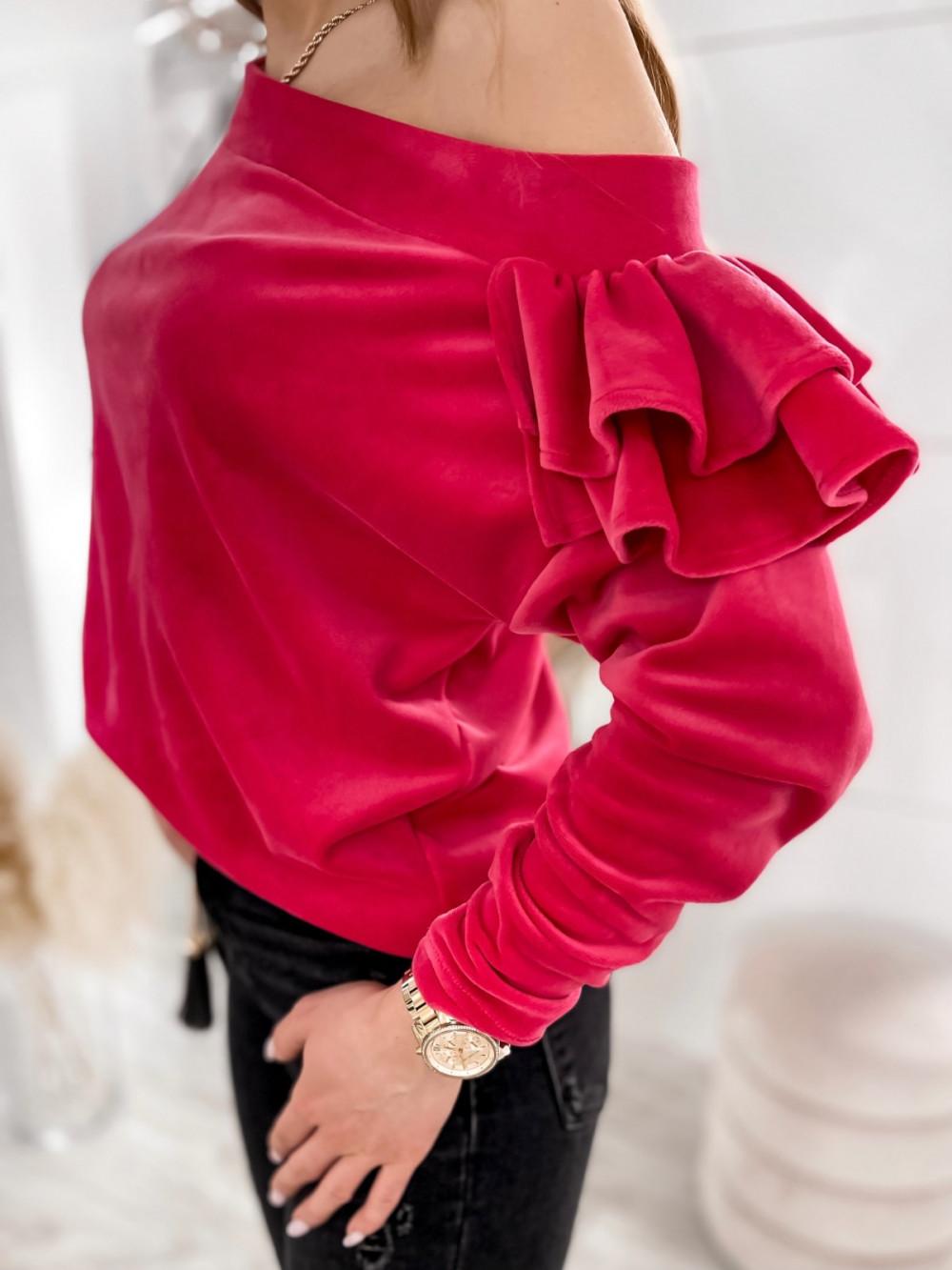 Fuksjowa bluza na jedno ramię z falbanami Jasmine 4