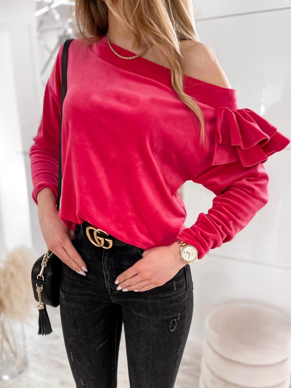 Fuksjowa bluza na jedno ramię z falbanami Jasmine 3