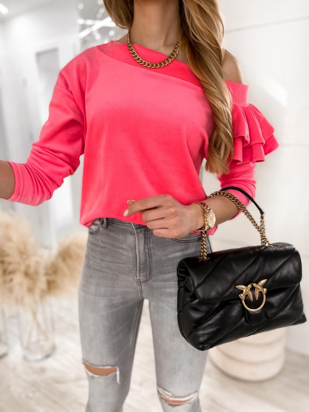 Różowa bluza na jedno ramię z falbanami Jasmine 4