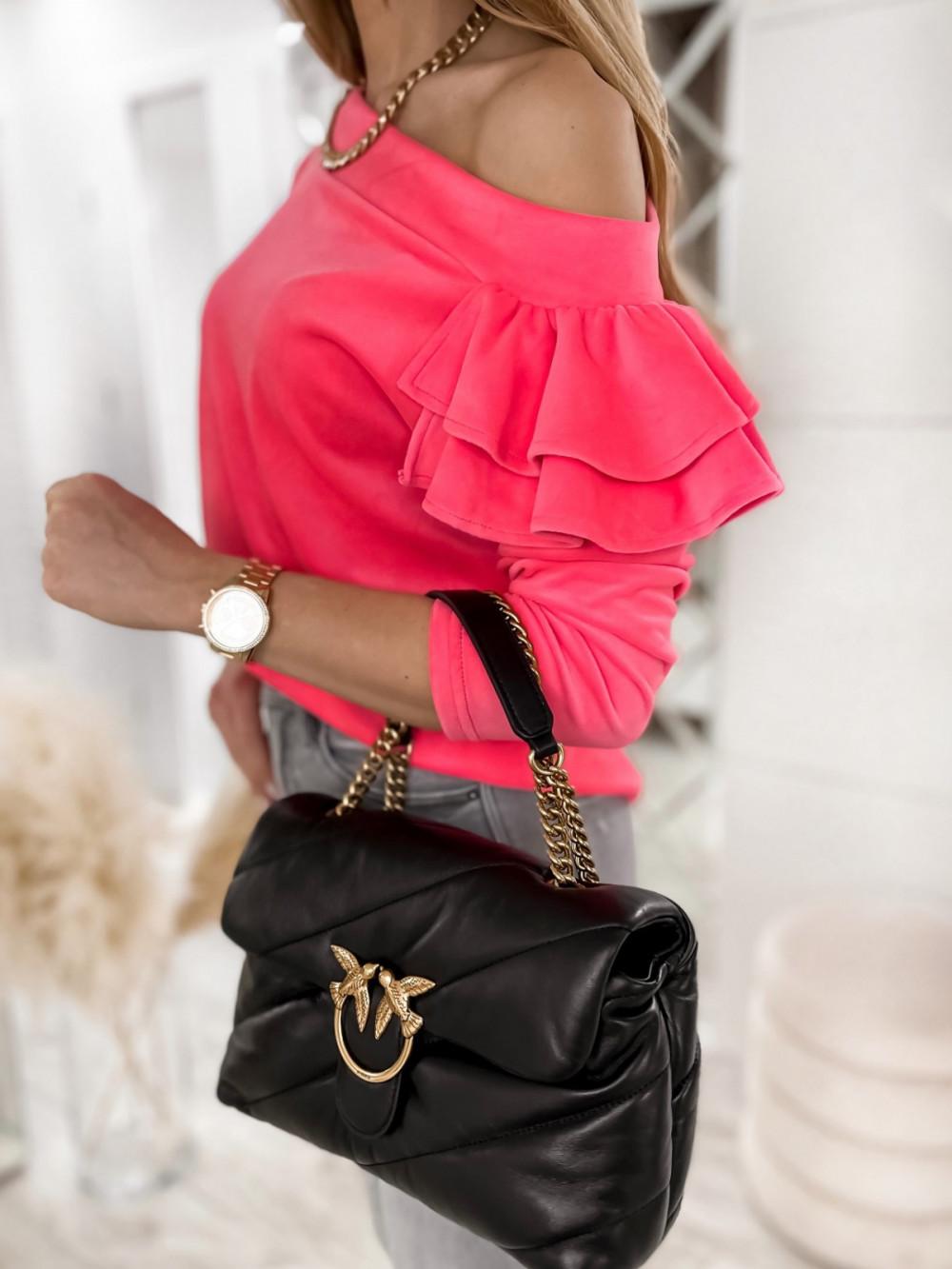 Różowa bluza na jedno ramię z falbanami Jasmine 7