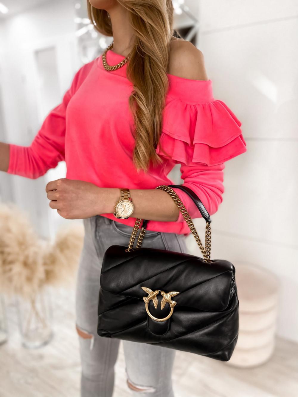 Różowa bluza na jedno ramię z falbanami Jasmine 6