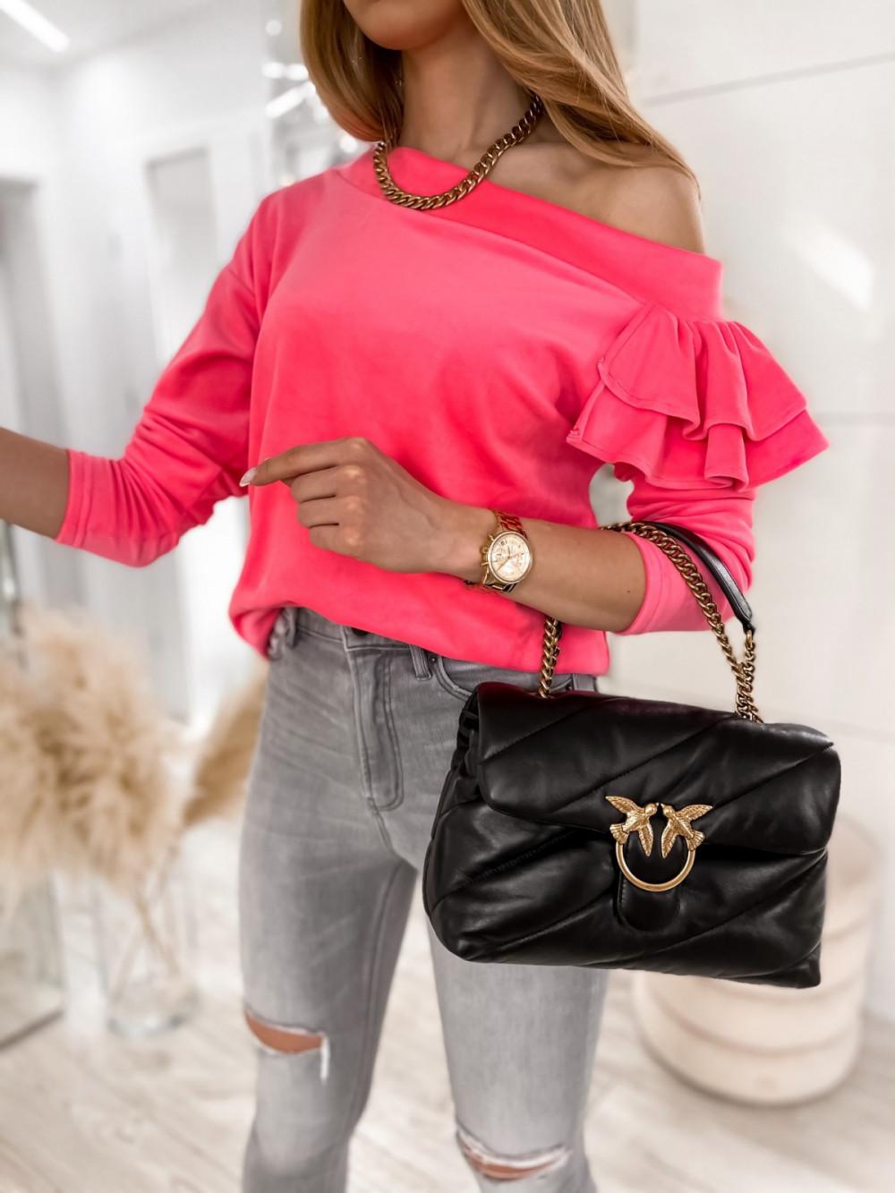 Różowa bluza na jedno ramię z falbanami Jasmine 1