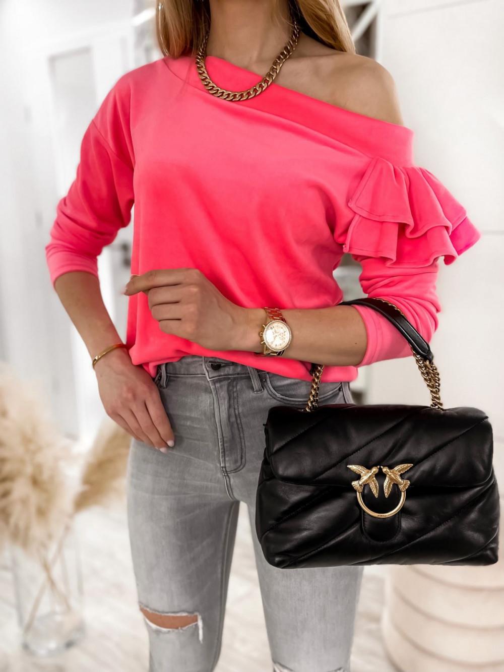 Różowa bluza na jedno ramię z falbanami Jasmine 3