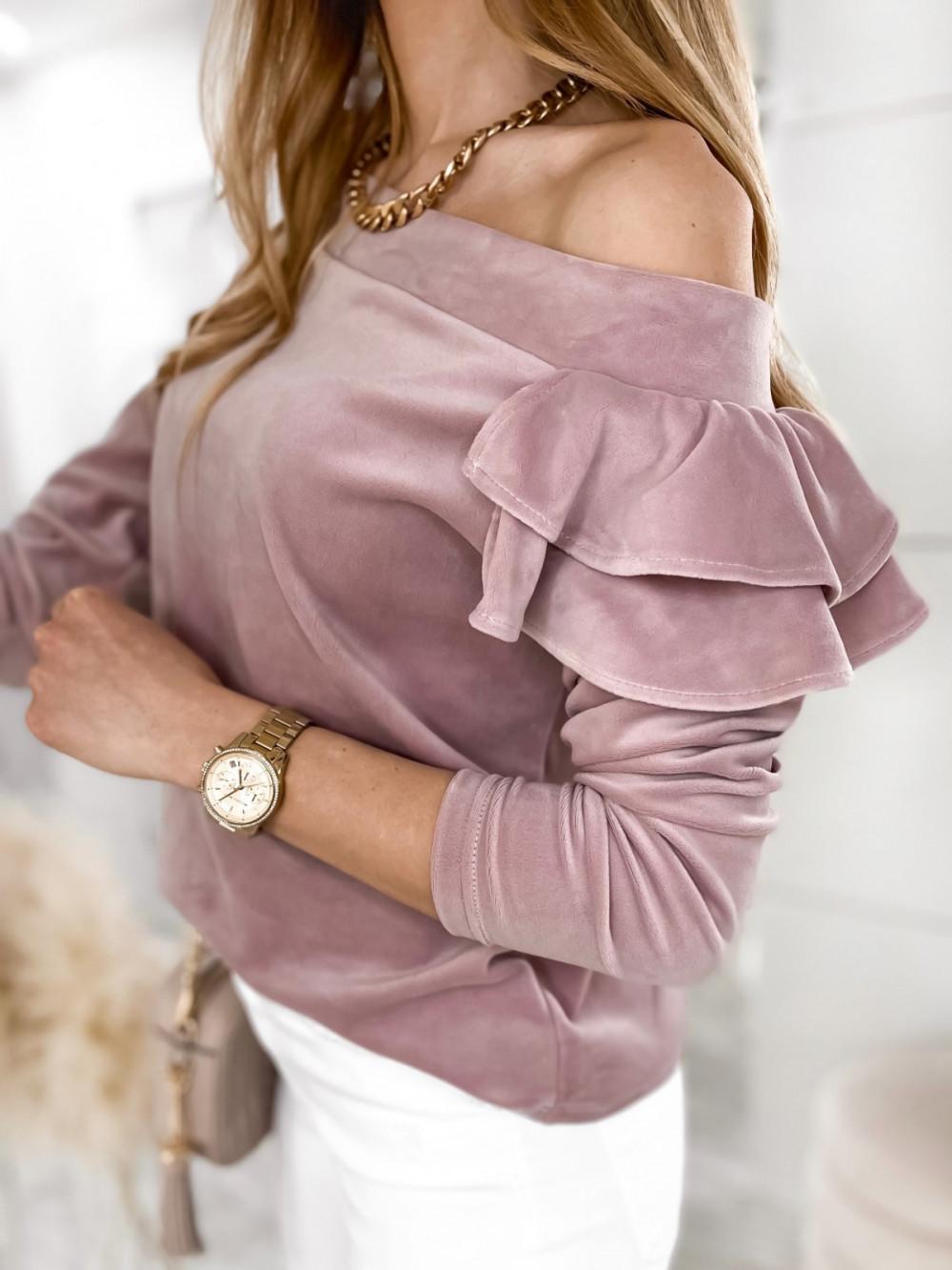 Brudno różowa bluza na jedno ramię z falbanami Jasmine 3