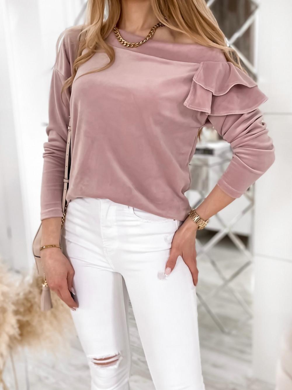 Brudno różowa bluza na jedno ramię z falbanami Jasmine 4