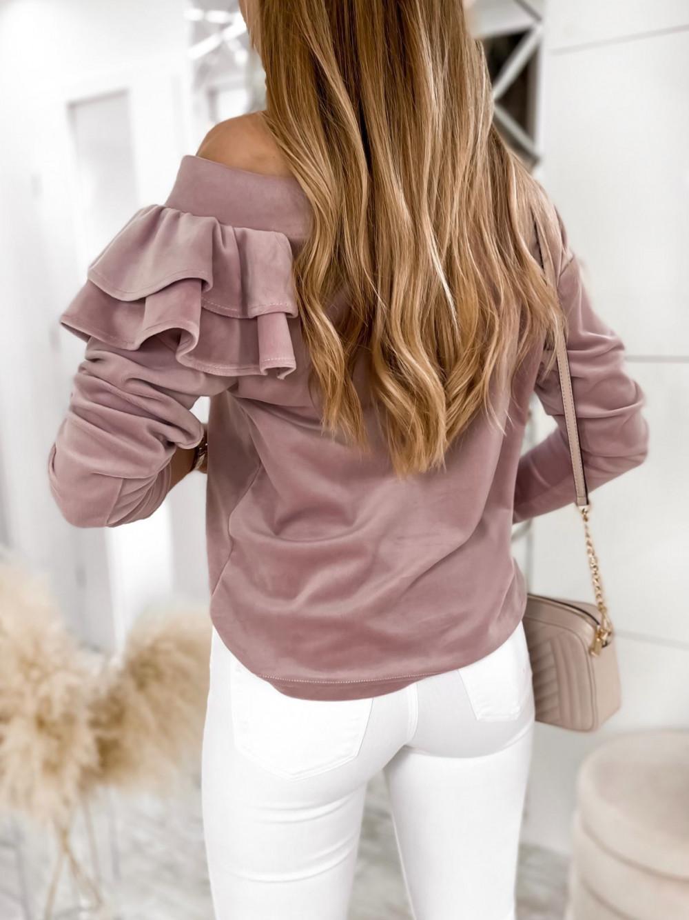 Brudno różowa bluza na jedno ramię z falbanami Jasmine 5