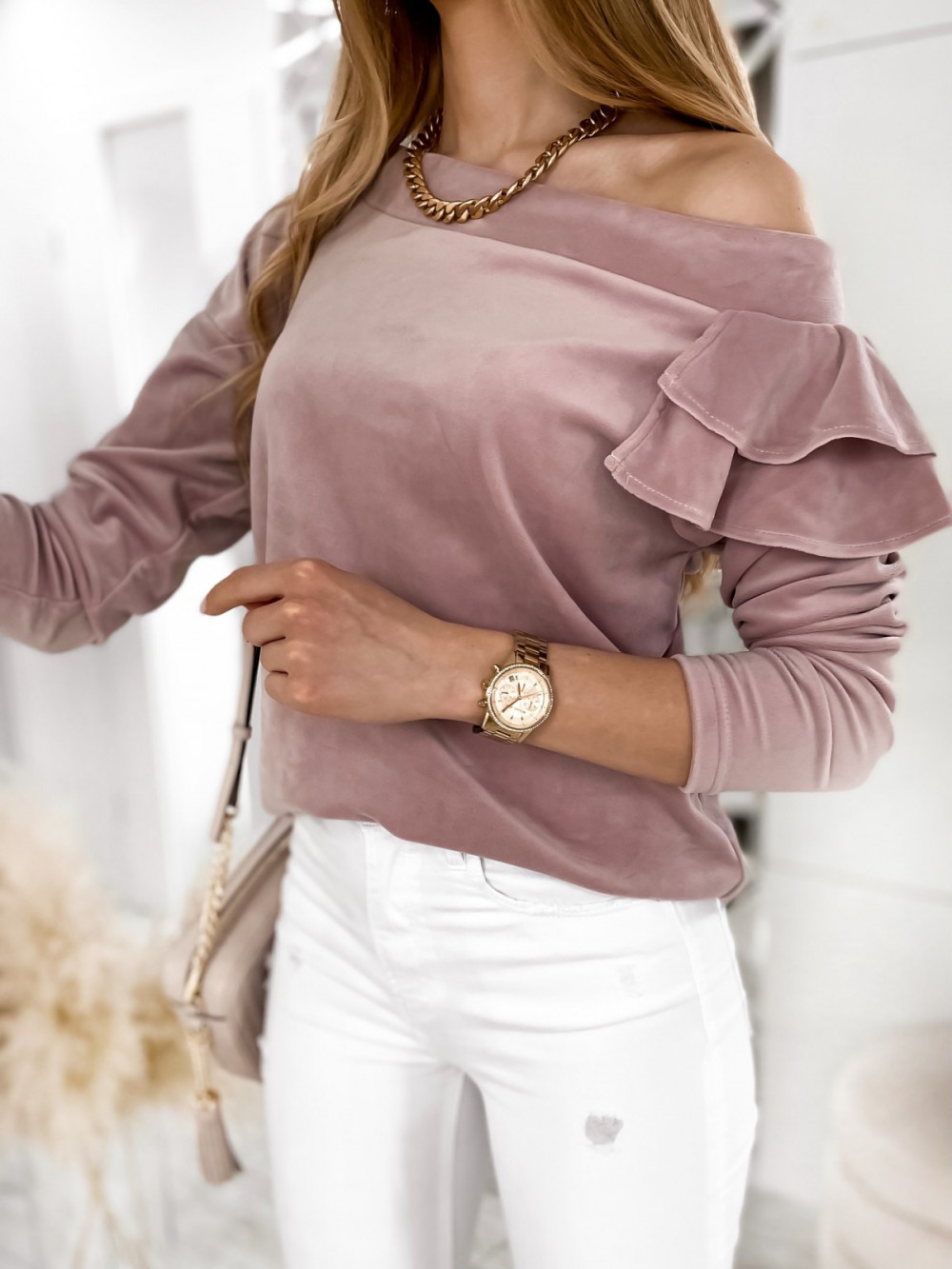Brudno różowa bluza na jedno ramię z falbanami Jasmine 1