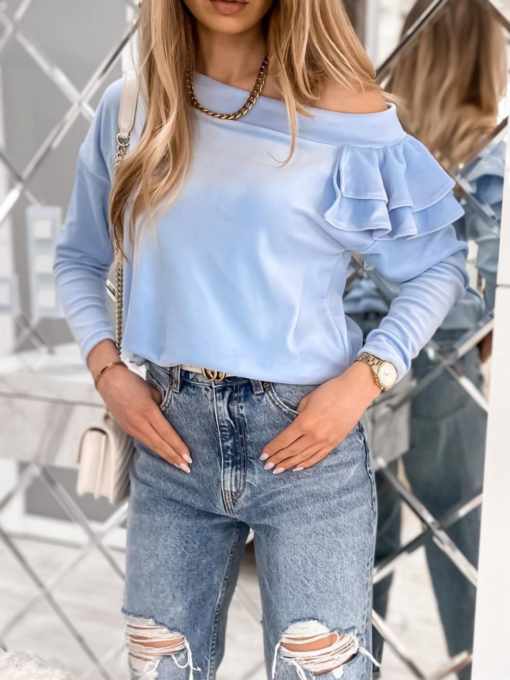 Jasnoniebieska bluza na jedno ramię z falbanami Jasmine 3