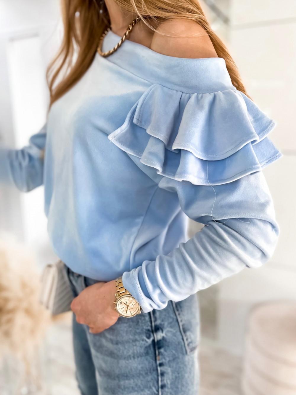 Jasnoniebieska bluza na jedno ramię z falbanami Jasmine 5